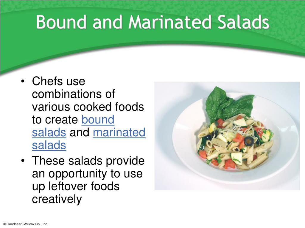 Chefs use combinations of various cooked foods to create