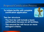 proposed certification process