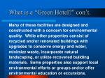 what is a green hotel con t