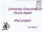 university executive forum apple ipod project
