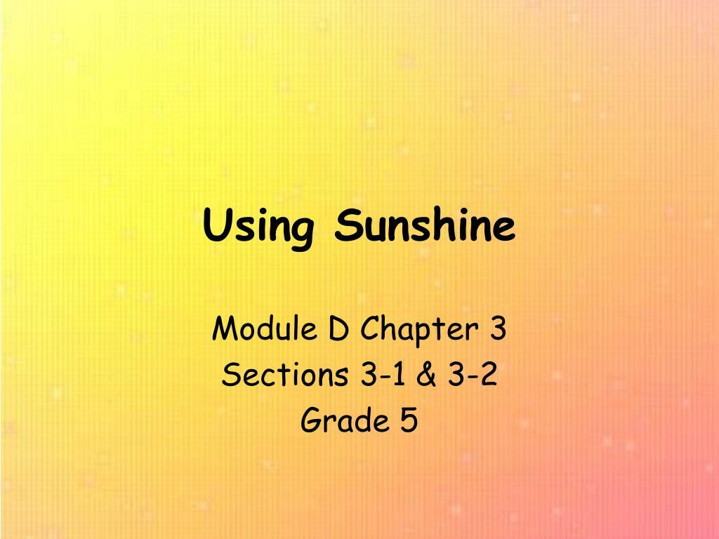 using sunshine l.
