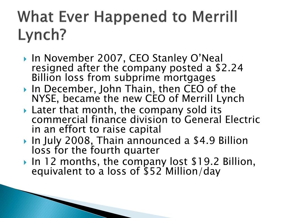 a company analysis of merrill lynch Bank of america merrill lynch is the marketing name for the global banking and global markets businesses of bank of america corporation lending, derivatives, and.