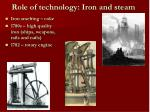 role of technology iron and steam