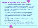 effects at specific bac s cont