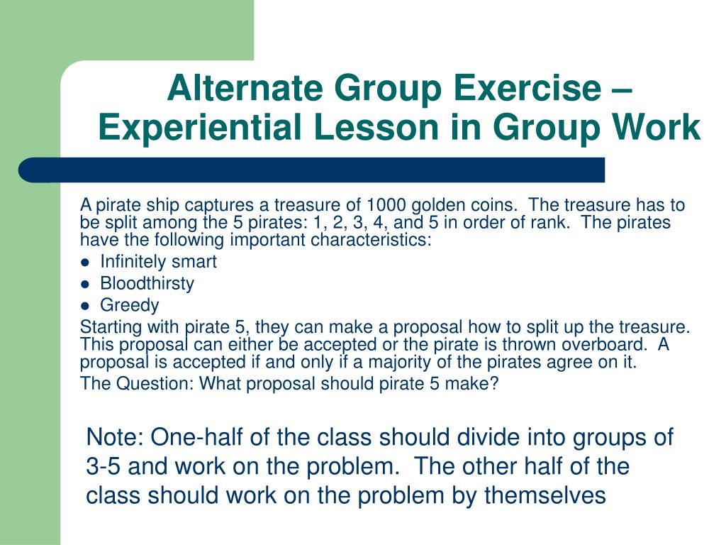 Alternate Group Exercise –