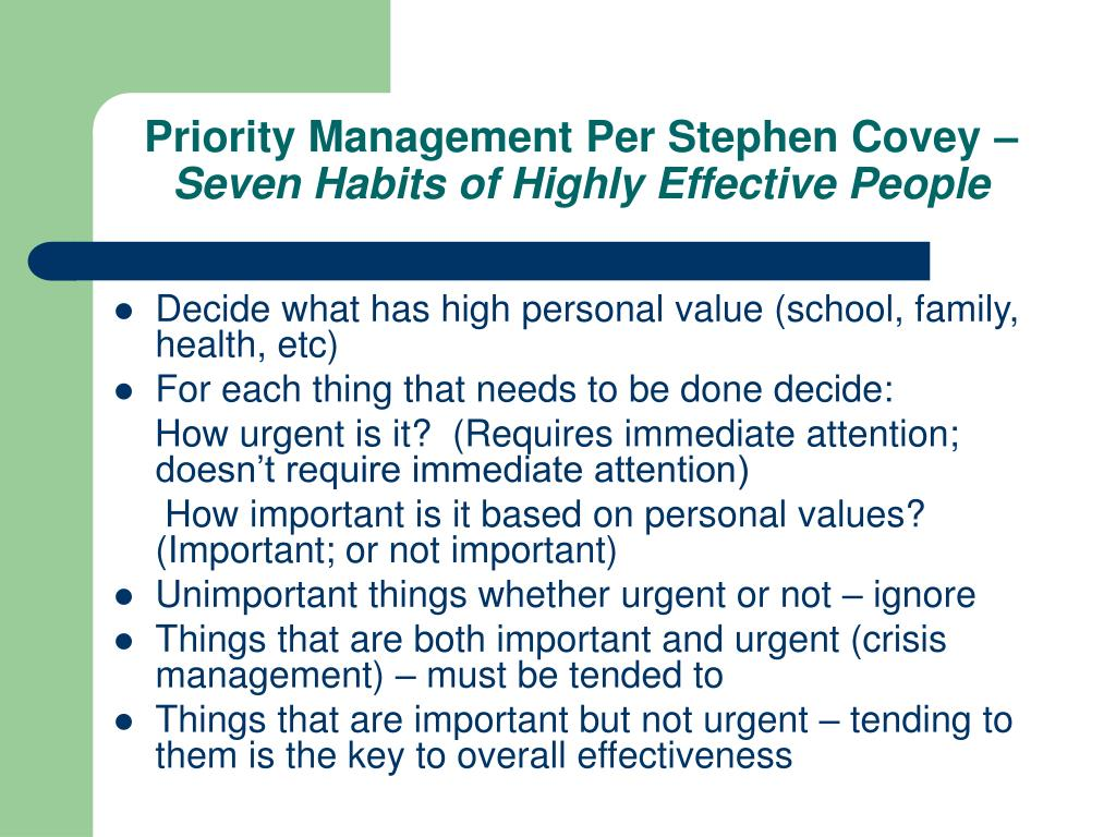 Priority Management Per Stephen Covey –