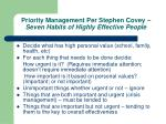 priority management per stephen covey seven habits of highly effective people