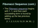 fibonacci sequence cont