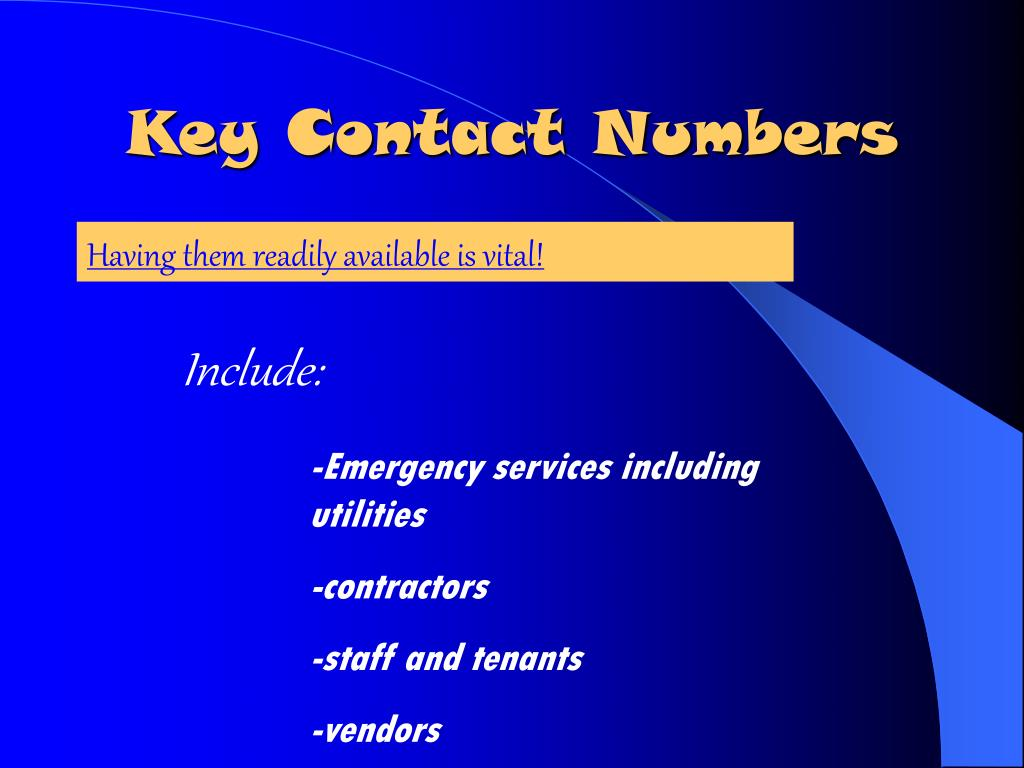 Key Contact Numbers