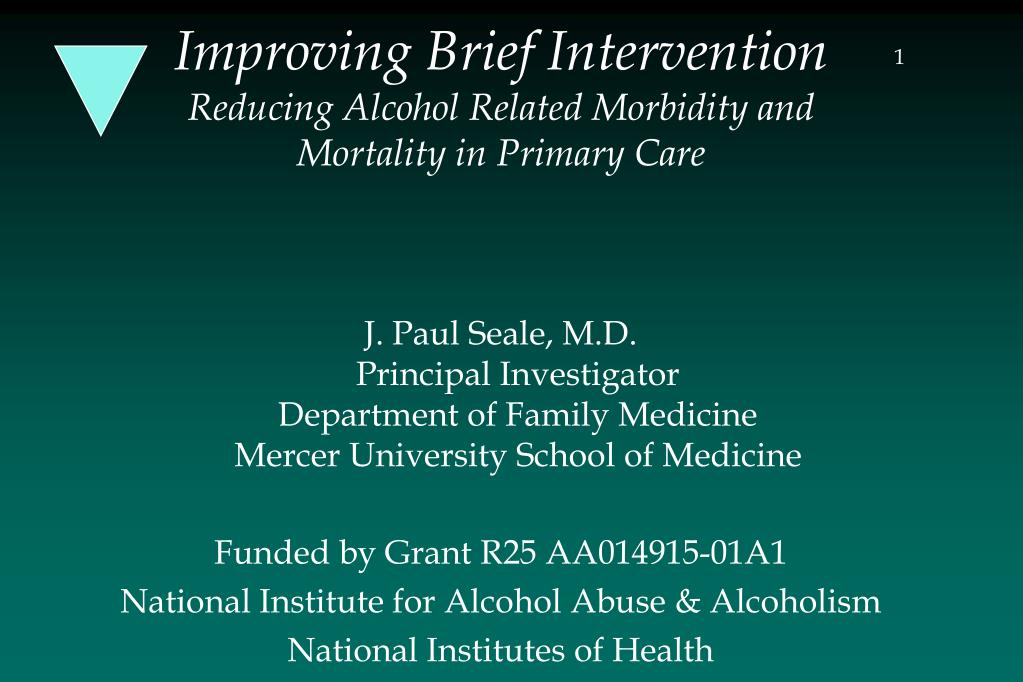 improving brief intervention reducing alcohol related morbidity and mortality in primary care l.
