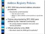 address registry policies
