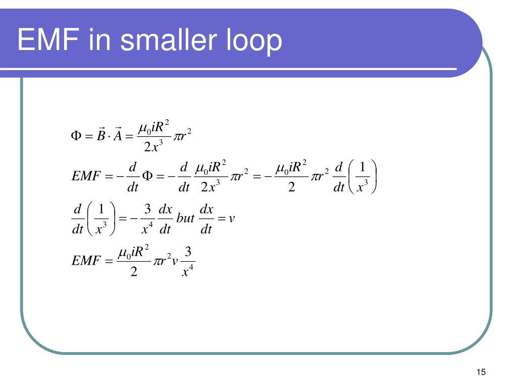 EMF in smaller loop