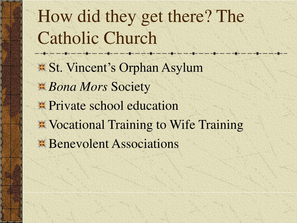 How did they get there? The Catholic Church