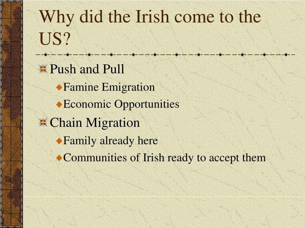 Why did the Irish come to the US?