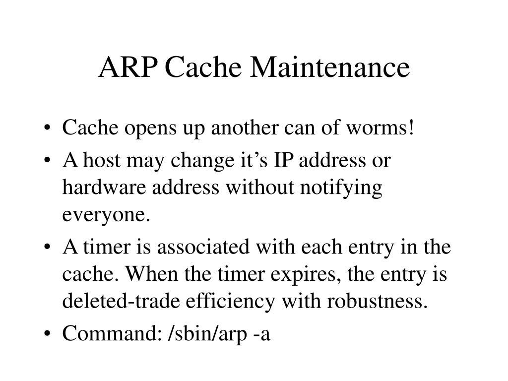 ARP Cache Maintenance