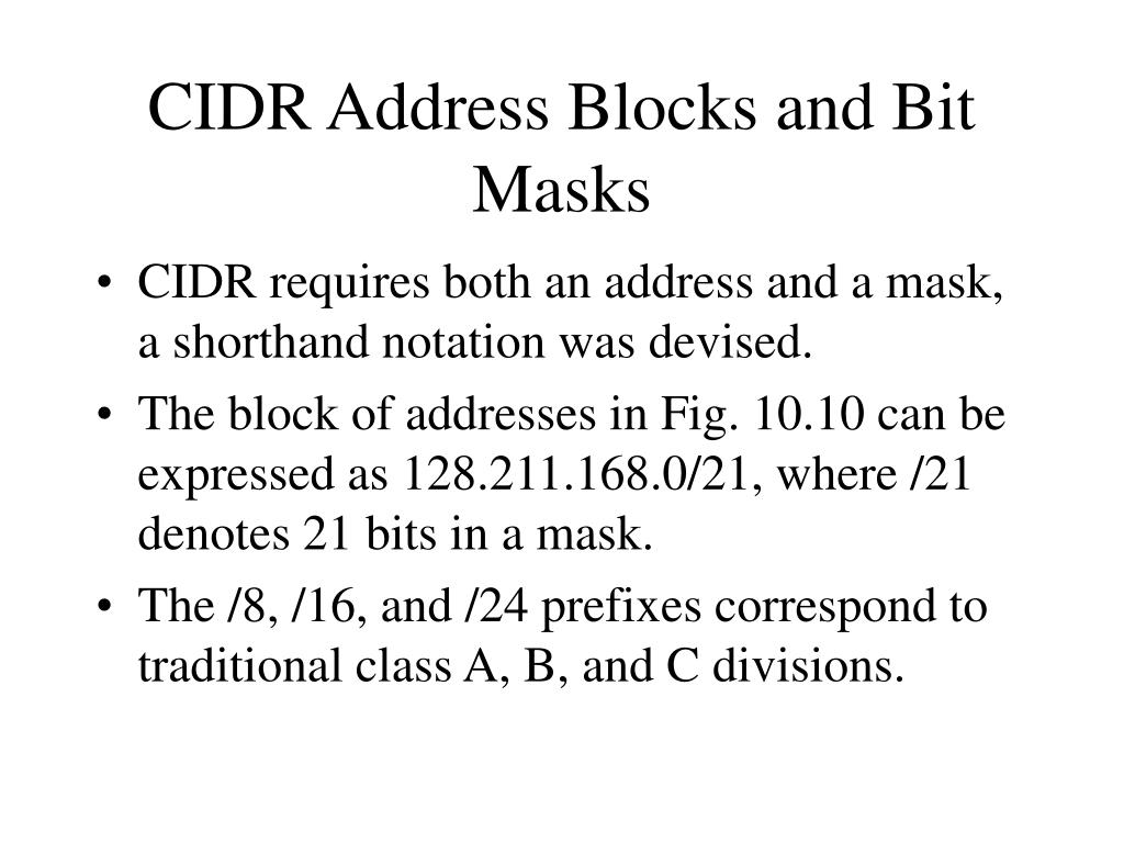 CIDR Address Blocks and Bit Masks
