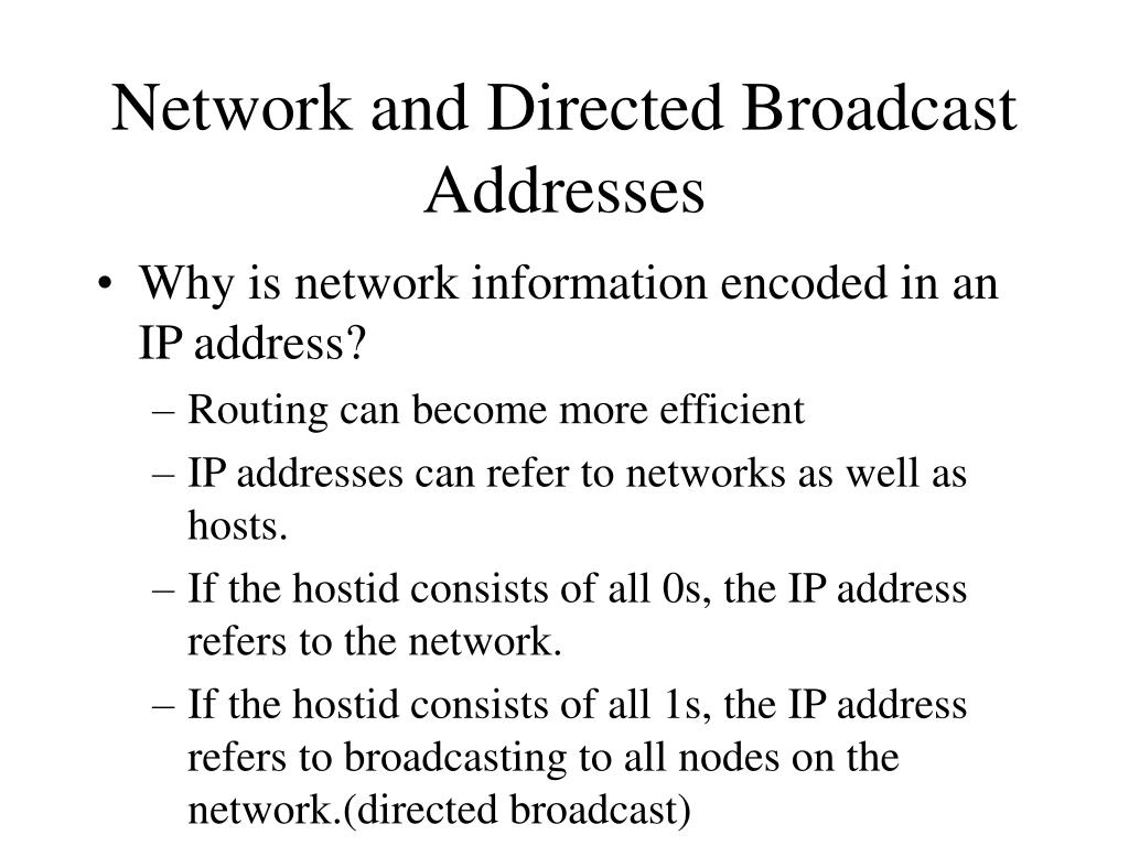 Network and Directed Broadcast Addresses