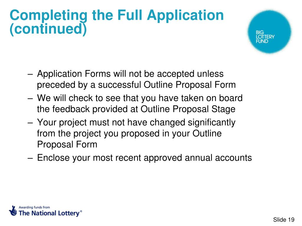 Completing the Full Application (continued)