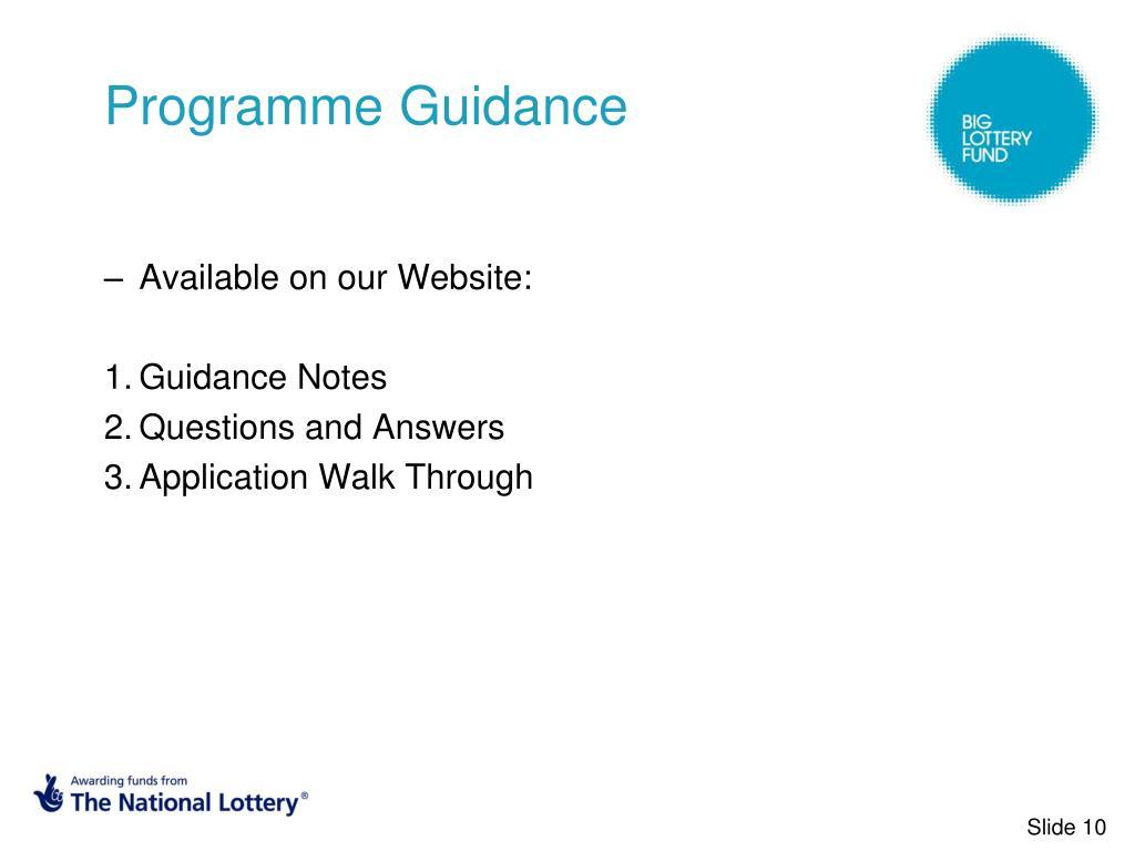 Programme Guidance