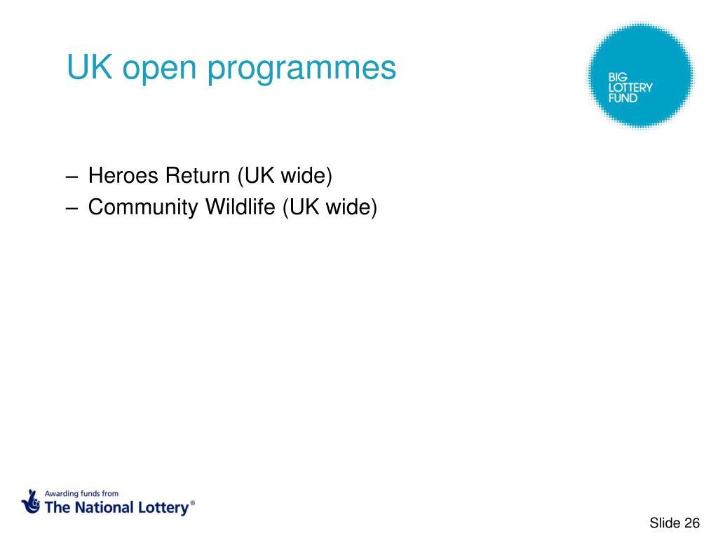 UK open programmes