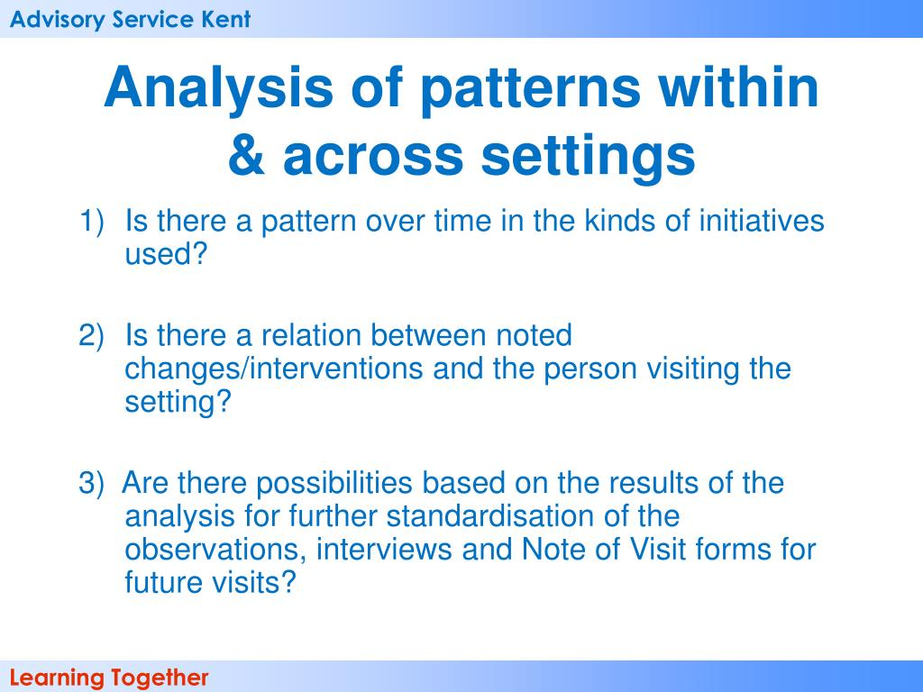 Analysis of patterns within & across settings