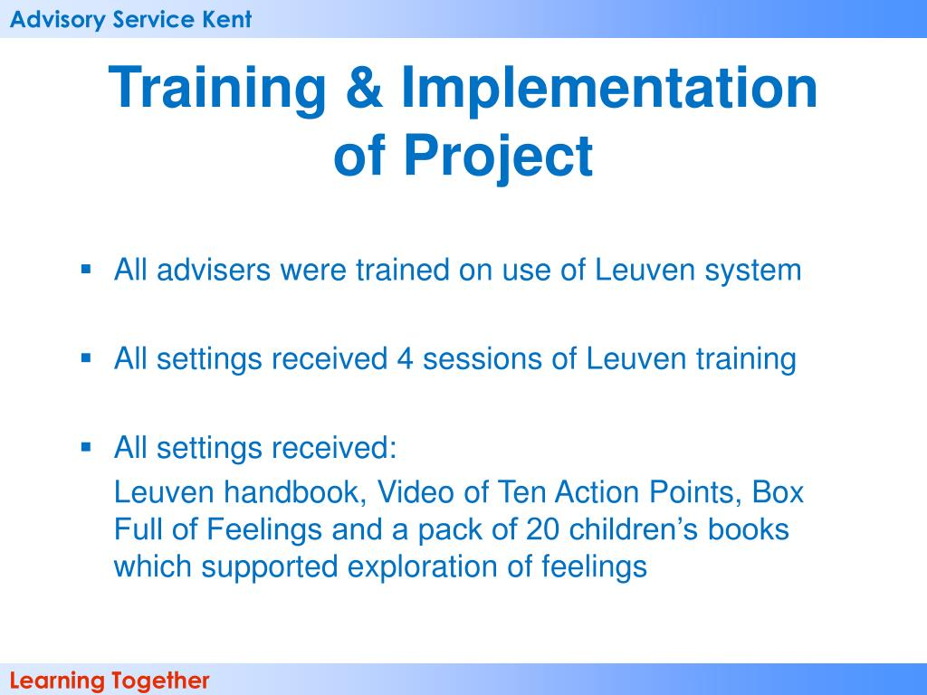 Training & Implementation of Project