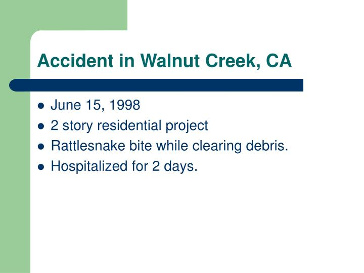 Accident in Walnut Creek, CA