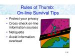 rules of thumb on line survival tips