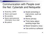 communication with people over the net cybertalk and netiquette