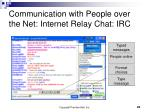 communication with people over the net internet relay chat irc