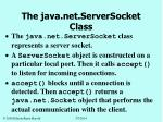 the java net serversocket class