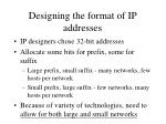 designing the format of ip addresses