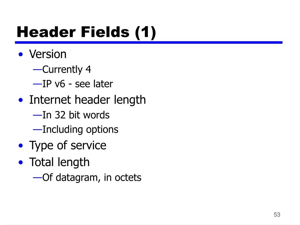 Header Fields (1)
