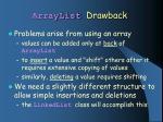 arraylist drawback