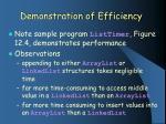 demonstration of efficiency