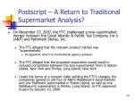 postscript a return to traditional supermarket analysis