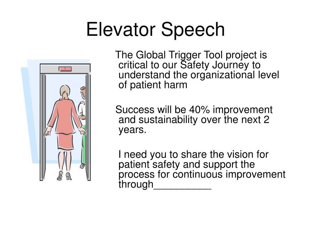 elevator speech draft An elevator pitch or elevator speech is a short overview of your business, products or services, and is typically used in business settings such as face-to-face networking an elevator pitch can be one of the simplest yet most powerful tools for a small business owner an elevator pitch is meant to.