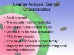 learner analysis general characteristics