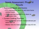 needs assessment phase iv results