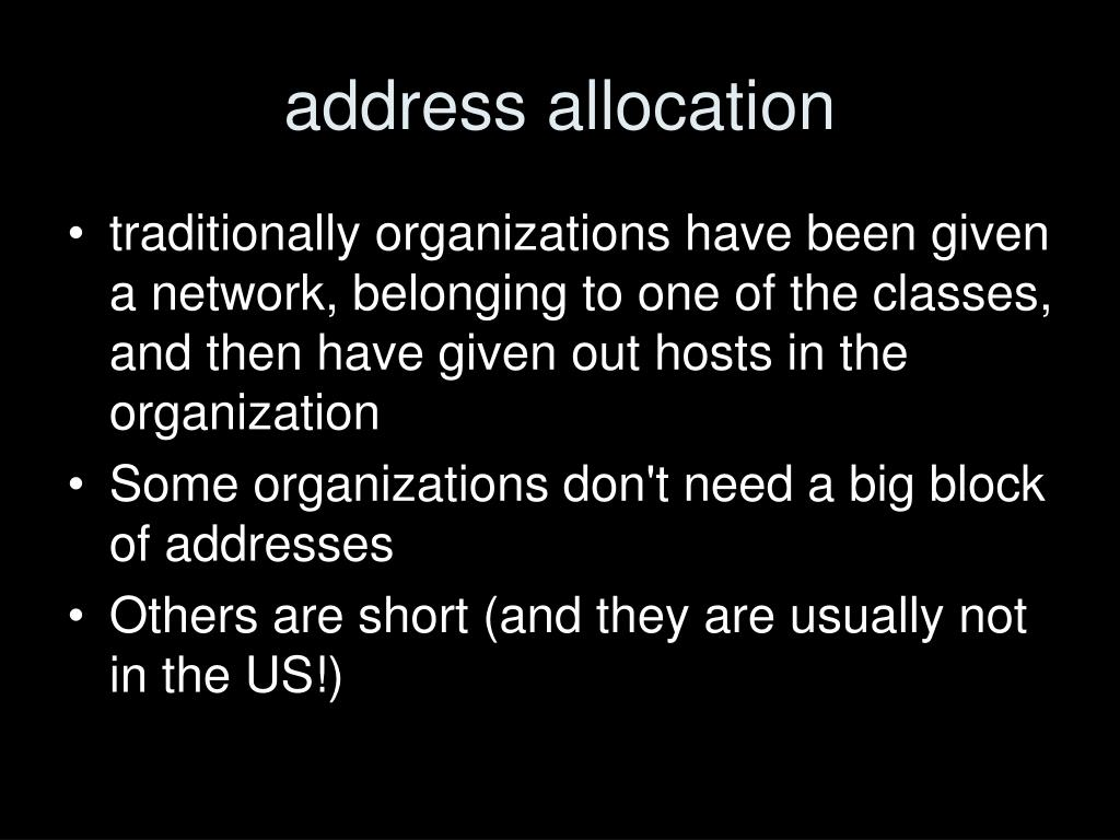 address allocation