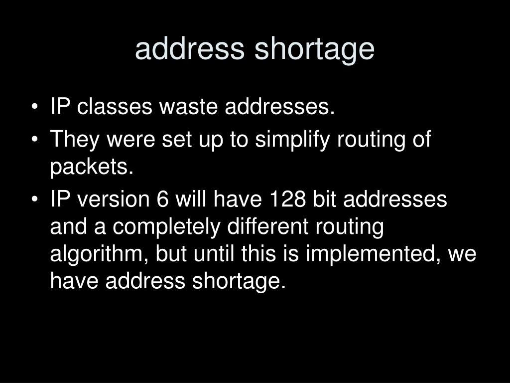 address shortage