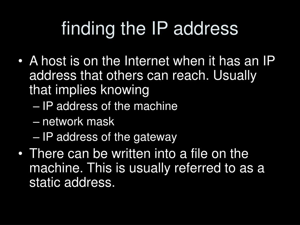 finding the IP address