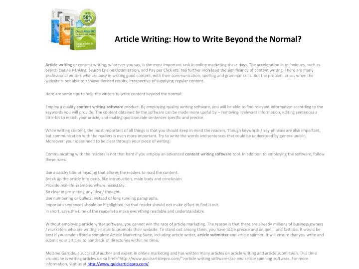 article writing how to write beyond the normal n.