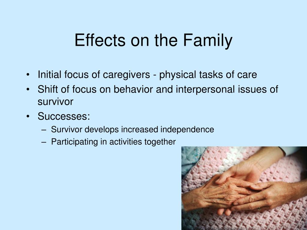 Initial focus of caregivers - physical tasks of care