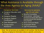 what assistance is available through the area agency on aging aaa