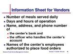 information sheet for vendors28