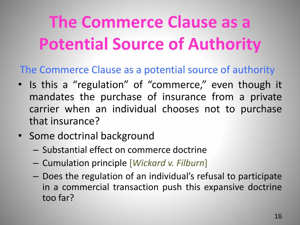 The Commerce Clause as a Potential Source of Authority
