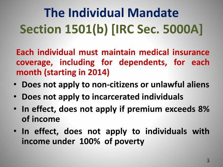 The individual mandate section 1501 b irc sec 5000a