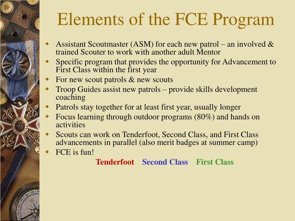 Elements of the FCE Program