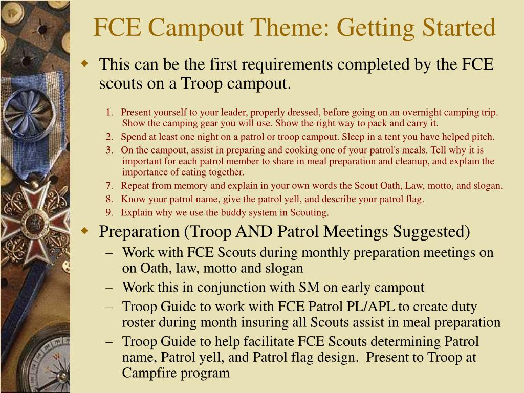FCE Campout Theme: Getting Started
